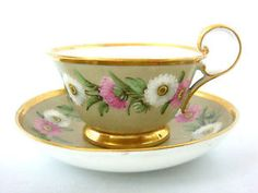 PL DAGOTY MARKED VERY FINE KIDNEY SHAPE HANDLE CABINET CUP SAUCER C1810
