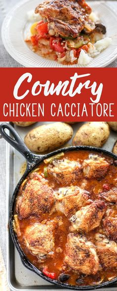 This rustic preparation of Country Chicken Cacciatore is so delicious. You will be proud to serve this one-pan meal to your family and friends. #chickencacciatore #onepanrecipe