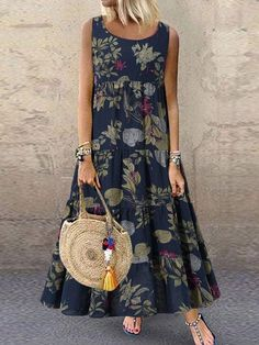 Vintage Floral Print Sleeveless Crew Neck Maxi Dress Source by newchicstylist dresses Casual Dresses, Fashion Dresses, Summer Dresses, Casual Outfits, Boho Floral Dress, Floral Dresses, Dresses Dresses, Dance Dresses, Dresses Online