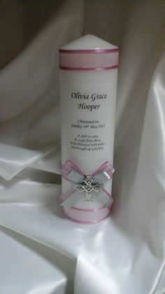 Personalised Christening Candle by Wedding Wonderland www.weddingwonderland.com.au #candle #christening #baptism #teddy