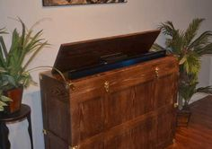 The Voyager TV Lift Cabinet by Morphbotics Shaped around old world style with a modern world use Handcrafted to perfection with the highest quality wood Wood Trunk, Old World Style, Cabinet Making, Tv Cabinets, Better Homes And Gardens, Hope Chest, New Homes, Shapes, Storage