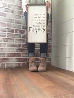 Thank God I'm Yours // Russell Dickerson Lyrics // Wood Sign // Yours // Wedding // Anniversary // Love // Farmhouse Decor - Home Professional Decoration Yours Russell Dickerson Lyrics, Cadre Diy, You Make Me Better, Bedroom Decor, Wall Decor, Master Bedroom, Bedroom Ideas, Bedroom Wall, Wall Art