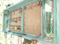 """Jewelry Organizer Wall Display Message Board..""""JADE & BLACK SATIN"""" with Bronze or You Choose Color ..Shabby Chic Beach Cottage...Handmade"""