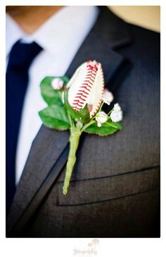 Photographer: @Jill Meyers Knight baseball wedding, wedding, groom, baseball boutonniere