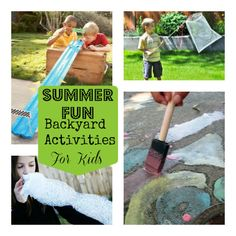 Summer Fun: Backyard Activities For Kids Love the chalk paint, freezer bag ice cream, marble races Craft Activities For Kids, Summer Activities, Projects For Kids, Games For Kids, Toddler Activities, Crafts For Kids, Outdoor Activities, Summer Fun For Kids, Experiment