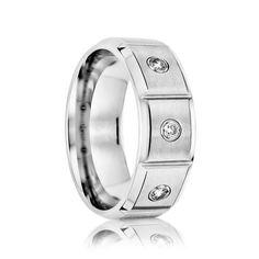 TERCIERO    Beveled Edge Cobalt Band with Satin Finished Center & 3 White Diamonds    |      6mm, 7mm, & 8mm - TCRings.com