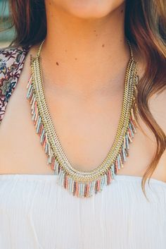 Coral Reef Fringe Necklace