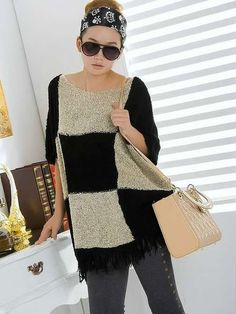 Euro Style Women Loose Half Sleeve Black Knitting Sweater One Size @YIF10863b