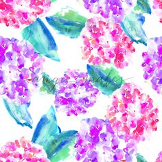 Download this Painted Hydrangeas Pattern. This Seamless Background Pattern Features Watercolor Painted Hydrangeas in Purple and Pink Hues.