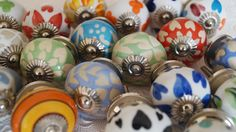 Beautifully Handcrafted Ceramic Painted & Etched Round Knobs