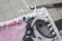 How to Crochet Around Fleece Fabric with the Skip Stitch Blade - Repeat Crafter Me fabric crafts, How to Crochet Around Fleece Fabric with the Skip Stitch Blade Fleece Blanket Edging, Crochet Blanket Border, Crochet Stitches For Blankets, Crochet Borders, Blanket Stitch, Crochet Blanket Patterns, Lovey Blanket, Fleece Blankets, Flannel Baby Blankets