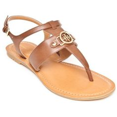 Tommy Hilfiger Brown Lelah Flat Thong Sandal - Women's (€36) ❤ liked on Polyvore featuring shoes, sandals, brown, tommy hilfiger sandals, flat shoes, tommy hilfiger footwear, toe post sandals and brown sandals