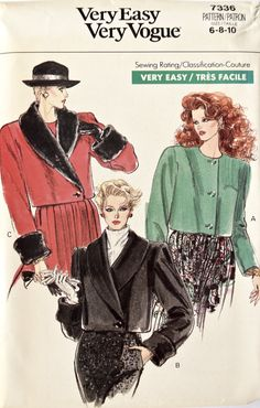 60863efbdde Very Easy Very Vogue 7336 Sewing Pattern Vintage 1980s Jacket Loose-Fitting  Shawl Collar Asymmetrical Closing Cuffs UNCUT Size 6- 8-10
