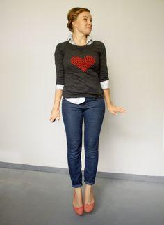 DIY tutorial: Cross Stitch Heart Sweater