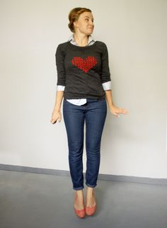DIY tutorial: Cross Stitch Heart Sweater