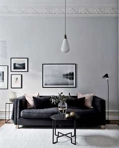 Minimalist Living Room Design Ideas - Looking to streamline and also improve your home? Below minimalist living rooms that will inspire your spring-cleaning initiatives. Grey Walls Living Room, Black And White Living Room, White Rooms, Home Living Room, Living Room Designs, Living Room Furniture, Black Sofa Living Room Decor, Black And White Interior, Grey Room