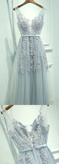 A-line V-neck Floor-length Prom Dress with Appliques Sash