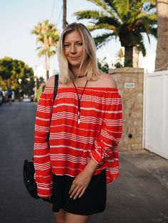 Summer style, red off-the-shoulder top