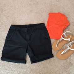 Gap Black Shorts Size 6 Longer inseam short in a great durable material! Can be styled rolled or unrolled. Slight distressed coloring, so they can also look kind of navy. GAP Shorts