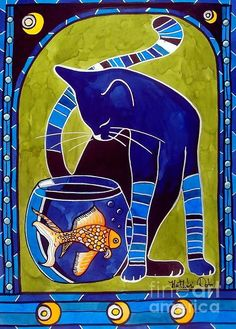 Cat art painting by artist Dora Hathazi Mendes titled Blue Cat with Goldfish #cat #art #dorahathazi