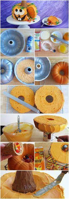 Gâteau citrouille Piñata! Vraiment une excellente idée de suprises pour les enfants!