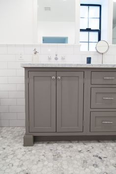 Grey shaker style vanity with inset doors - by Rafterhouse