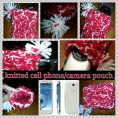 Knitted cell phone/camera pouch