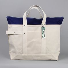 Large Harvest Tote Bag in Natural Canvas and Navy