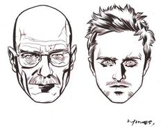 Drawing of Walter White & Jesse Pinkmen from Breaking Bad.