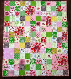 Red Pepper Quilts: 2010 - Idea to use up some fussy cut fairy fabric. Overall this is too busy for me but that is easily rectified.