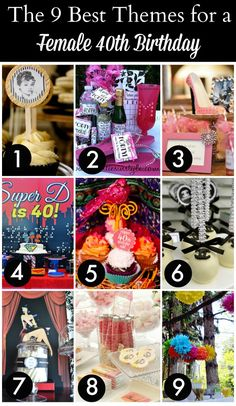 Check out these nine fantastic 40th birthday themes for women! See more party ideas at CatchMyParty.com!