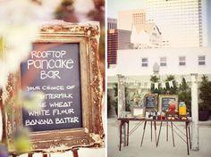Rooftop wedding pancake bar, brilliant idea for a sunrise wedding Rooftop Wedding, Brunch Wedding, Wedding Reception, Engagement Brunch, Reception Food, Reception Ideas, Wedding Decor, Rustic Wedding, Daytime Wedding