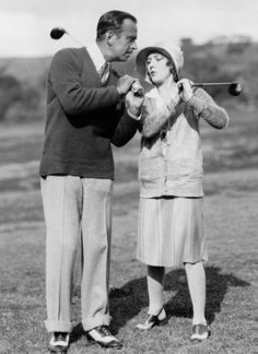 Douglas Fairbanks and Mary Pickford playing golf, early 1920's