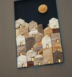 Mosaico Artigiano – Laboratorio di artigianato artistico | le village gold – limited edition Clay Crafts, Diy And Crafts, Arts And Crafts, Paper Crafts, Mosaic Projects, Art Projects, Tea Bag Art, Fabric Pictures, Cardboard Art