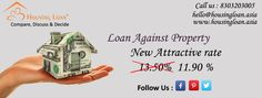 New attractive rates of Loan Against Property for all purposes, slashed from 13.5% to 11.9%. For hassle free loans Call 8303203005