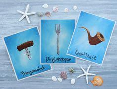 The Little Mermaid Art Prints / Dinglehopper, Snarfblatt, and Thingamabob / Art for Mermaid Room / Mermaid Bathroom / Set of 3 Prints Little Mermaid Nursery, Little Mermaid Art, Mermaid Artwork, Mermaid Room, Mermaid Bathroom, Mermaid Prints, Disney Nursery, Thing 1, Light Blue Background