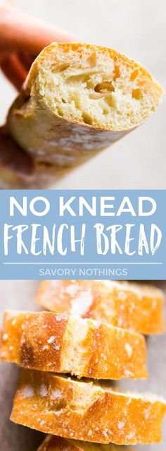 """Now you can make crusty, artisan-like HOMEMADE French Bread from scratch with barely any effort! This is one of the best lazy cook's/baker's hack I've ever found - no kneading, no shaping, no overnight rise, and it comes out perfect every time with just 5 MINUTES PREP and about 10 minutes active time in total! 