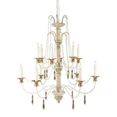 Castleblouc Chandelier by Aidan Gray.   Material: Wood & Metal  Finish: Rustic Cream/Gold