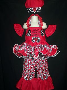 PAGEANT CASUAL WEAR VALENTINE 3t/4t WILD ZEBRA HEARTS  7PC