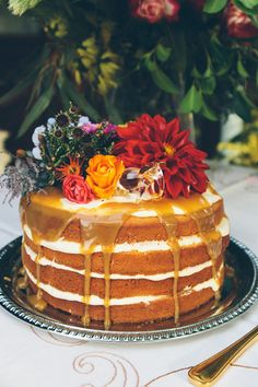 Caramel Naked Cake | Ebony Sugg Photography on @polkadotbride