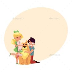 #Two Kids Hugging Pets - Animals #Characters Download here: https://graphicriver.net/item/two-kids-hugging-pets/19706617?ref=alena994