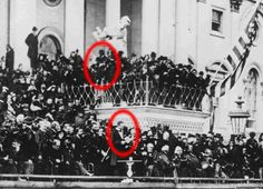 On March 4 in 1865: President Abraham Lincoln ws sworn in for a second term...   Lincoln had no way of knowing, of course, that in the crowd that day was the actor John Wilkes Booth -who would assassinate the President just six weeks later.   Here they are: the President and his killer -just yards away. (West Wing Reports)
