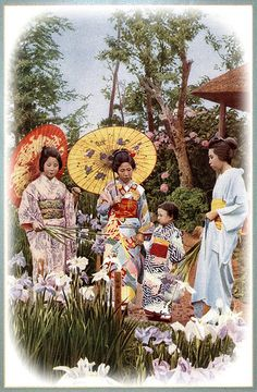 THREE GEISHA AND A CHILD -- Walking in an Iris Garden of Old Meiji-era Japan | by Okinawa Soba (Rob)