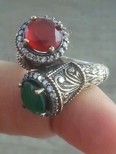 Antique 925 Silver Ring Authentic Turkish Jewelry Ruby Emerald Topaz Handmade | eBay