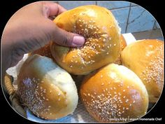 Soft Burger Buns - A Homemade Chef [process: done in the mixer, then kneaded manually for about 5 to 7 minutes, then the dough rises 1h+, punch, let rest ~10min, form buns, let rise again... 45min-1h, bake]