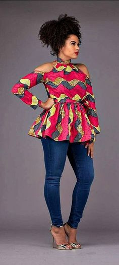 The Latest Ankara Tops With Jeans Style African Fashion Designers, African Fashion Ankara, Ghanaian Fashion, African Inspired Fashion, African Print Dresses, African Print Fashion, Africa Fashion, African Dress, Nigerian Fashion