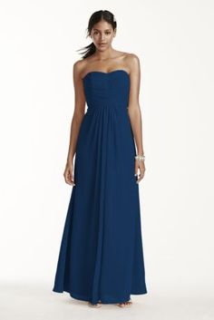 "A look and feel that your bridesmaids will love, this long and flowy chiffon dress will set your bridal party apart from the rest!  4"" extra length strapless chiffon dress with pleating.  Strapless a-line silhouette features ultra-feminine pleated bodice.  Long and soft flowing chiffon fabric gives this dress a whimsical feel.  Fully lined. Imported. Back zip. Dry clean only. Available in Standard Length as Style F15555."