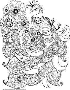 Printable Adult Coloring Page -Peacock Spirit Animal Peacock Coloring Pages, Detailed Coloring Pages, Flower Coloring Pages, Animal Coloring Pages, Colouring Pages, Coloring Books, Free Adult Coloring, Printable Adult Coloring Pages, Mandala Stencils