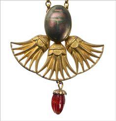 1900s Art Nouveau Scarab Necklace