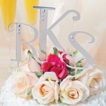 Silver Cake Pick Letters With Rhinestones